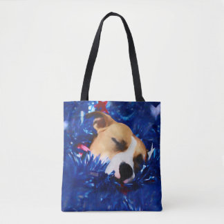 Pit Bull Rescue Dog in USA Stars and Stripes Tote Bag