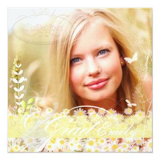 PixDezines 2015Grads Photo+diy mod daisies 13 Cm X 13 Cm Square Invitation Card