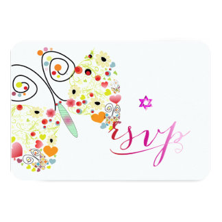 PixDezines Bat Mitzvah/butterflies 9 Cm X 13 Cm Invitation Card