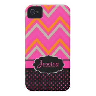 PixDezines Chevron/DIY background color hot pink Case-Mate iPhone 4 Cases