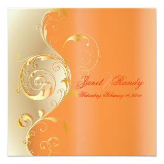 PixDezines Filigree+swirls/gold+orange/diy events 13 Cm X 13 Cm Square Invitation Card