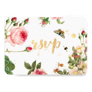 PixDezines RSVP Garden/Rose Buds/peonies/Redoute 9 Cm X 13 Cm Invitation Card