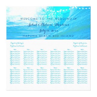 PixDezines waves/beach/wedding seating chart Stretched Canvas Prints