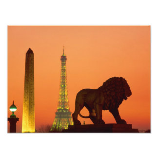 Place de la Concorde; Eiffel Tower; Obelisk; Photographic Print