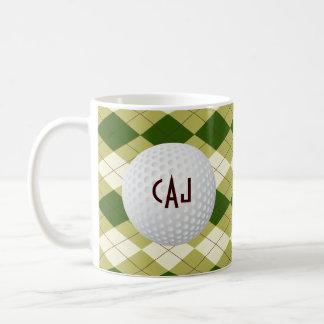 Plaid with Golf Ball, Personalized Coffee Mug
