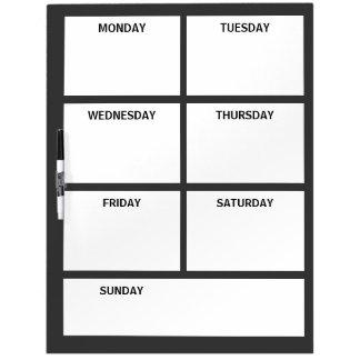 Plain Basic Simple Black White Days of the Week Dry-Erase Boards