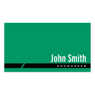 Plain Green Black Stripe Announcer Business Card
