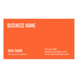 Plain Orange Physical Scientist Business Card