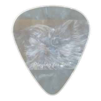 """Playing for Soul"" Blues Cat Guitar Pick by CFW Pearl Celluloid Guitar Pick"