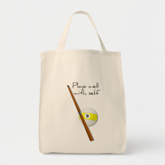 Plays Well, Funny Saying Grocery Tote Grocery Tote Bag