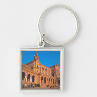 Plaza de Espana in Seville, Spain. Silver-Colored Square Key Ring
