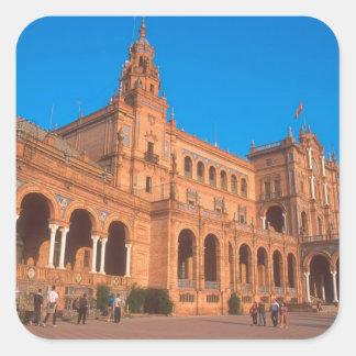 Plaza de Espana in Seville, Spain. Square Sticker