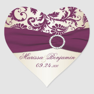 plum and Taupe Damask Heart Shape Sticker