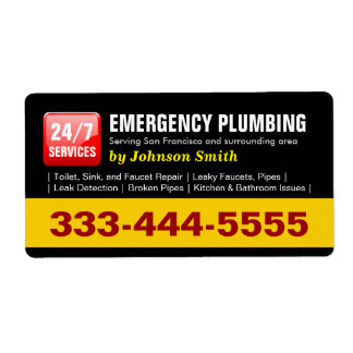Plumber - 24 HOUR EMERGENCY PLUMBING SERVICES Shipping Label