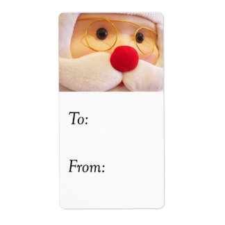 Plush Santa Claus Gift Tag Shipping Label