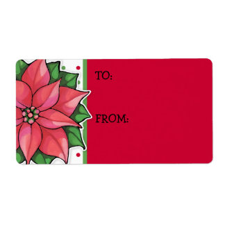 Poinsettia Joy dots Gift Tag Sticker Shipping Label