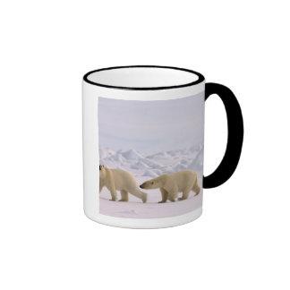 polar bear, Ursus maritimus, pair in rough ice Ringer Mug