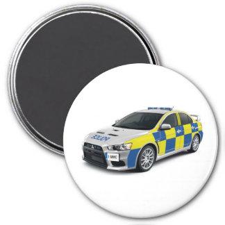 police mitsubishi lancer evo 7.5 cm round magnet