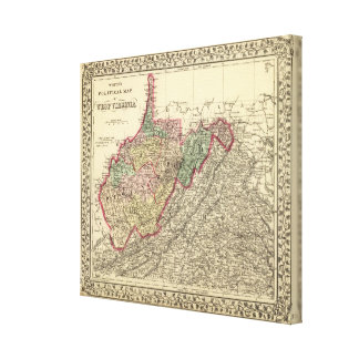 Political Map of West Virginia Stretched Canvas Print