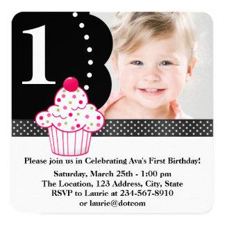Polka Dot Cupcake Girls Photo 1st Birthday Party 13 Cm X 13 Cm Square Invitation Card