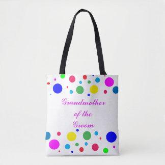 Polka Dot Grandmother of Groom Wedding Tote Bag