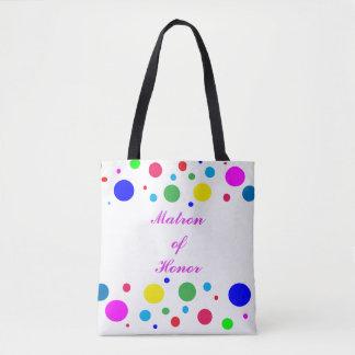 Polka Dot Matron of Honor Wedding Tote Bag