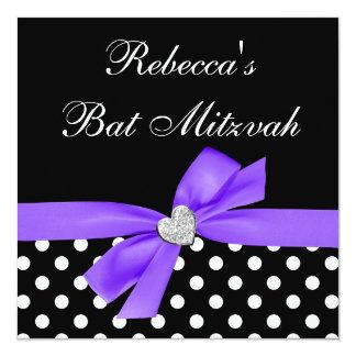 Polka Dot Purple Black Bow Heart Bat Mitzvah 13 Cm X 13 Cm Square Invitation Card