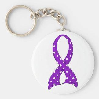 Polka Dot Purple Ribbon Crohn's Disease Basic Round Button Key Ring