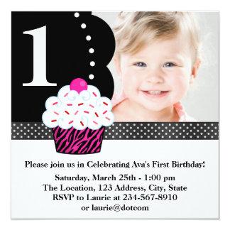 Polka Dot Zebra Cupcake Girls Photo 1st Birthday P 13 Cm X 13 Cm Square Invitation Card