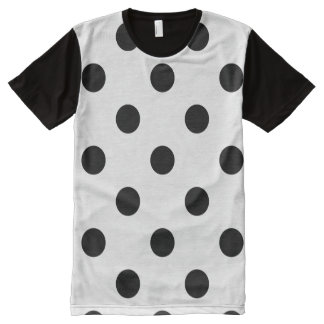 Polka Dots Huge - Black on White All-Over Print T-Shirt