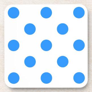 Polka Dots Huge - Blue on White Coasters