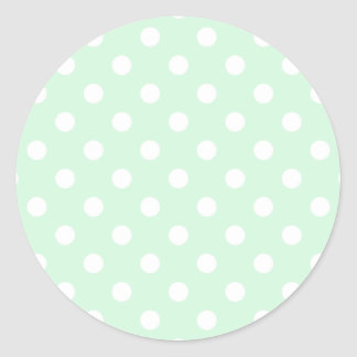 Polka Dots Large - White on Pastel Green Round Sticker