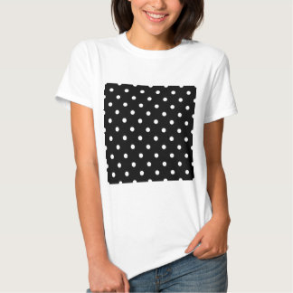 Polka Dots - White on Black T Shirt