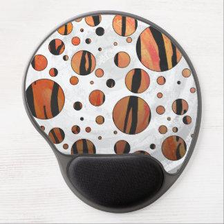 Polks Dot Tiger Hot orange and Black Print Gel Mouse Pad