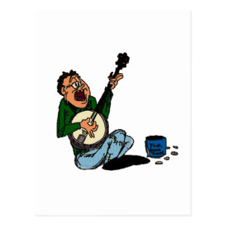 Poor Banjo Picker Postcard