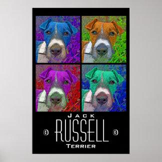 Pop Art Quad Jack Russell Terrier Poster