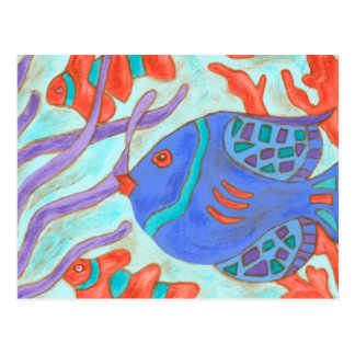 Pop-Colored Fish Postcard