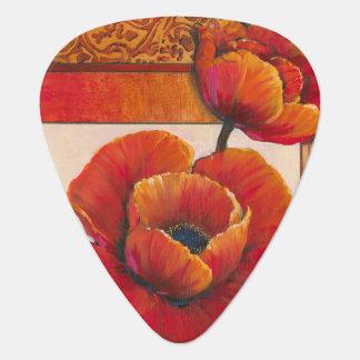 Poppy Flowers on Tan and Orange Background Plectrum
