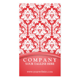 Poppy Red Damask Pack Of Standard Business Cards