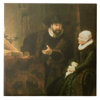 Portrait of Cornelius Anslo and his Wife, 1641 (oi Large Square Tile