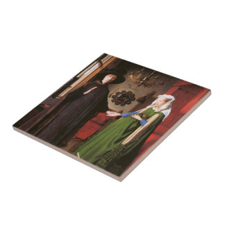 Portrait of Giovanni Arnolfini and his Wife Small Square Tile