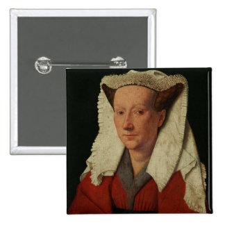 Portrait of Margaret van Eyck, 1439 15 Cm Square Badge