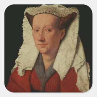 Portrait of Margaret van Eyck, 1439 Square Sticker