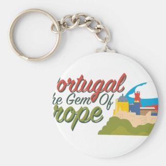 Portugal Gem Of Europe Basic Round Button Key Ring