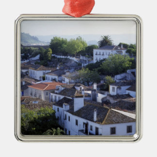 Portugal, Obidos. Elevated view of whitewashed Silver-Colored Square Decoration