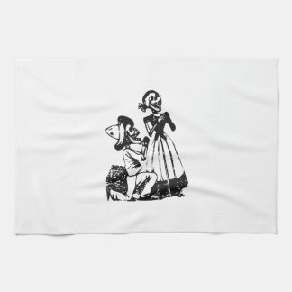 Posada Cavalera Courting Skeleton Couple Tea Towels