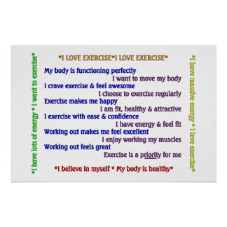 Positive Exercise Affirmations 2 Poster