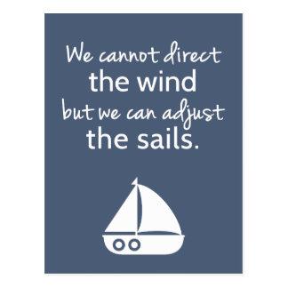 Positivity Mindset Nautical Sail boat Quote Postcard