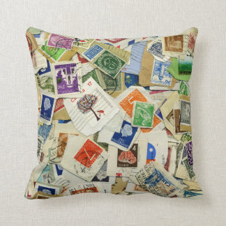 Postage Stamp Collage Travel Throw Pillow Cushions