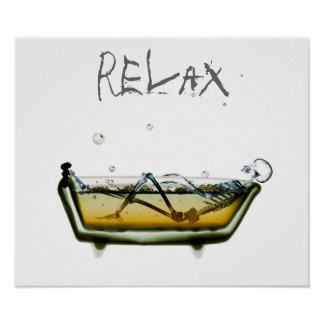Poster- Orig Neg Relax X-Ray Skeleton Bath Time Poster